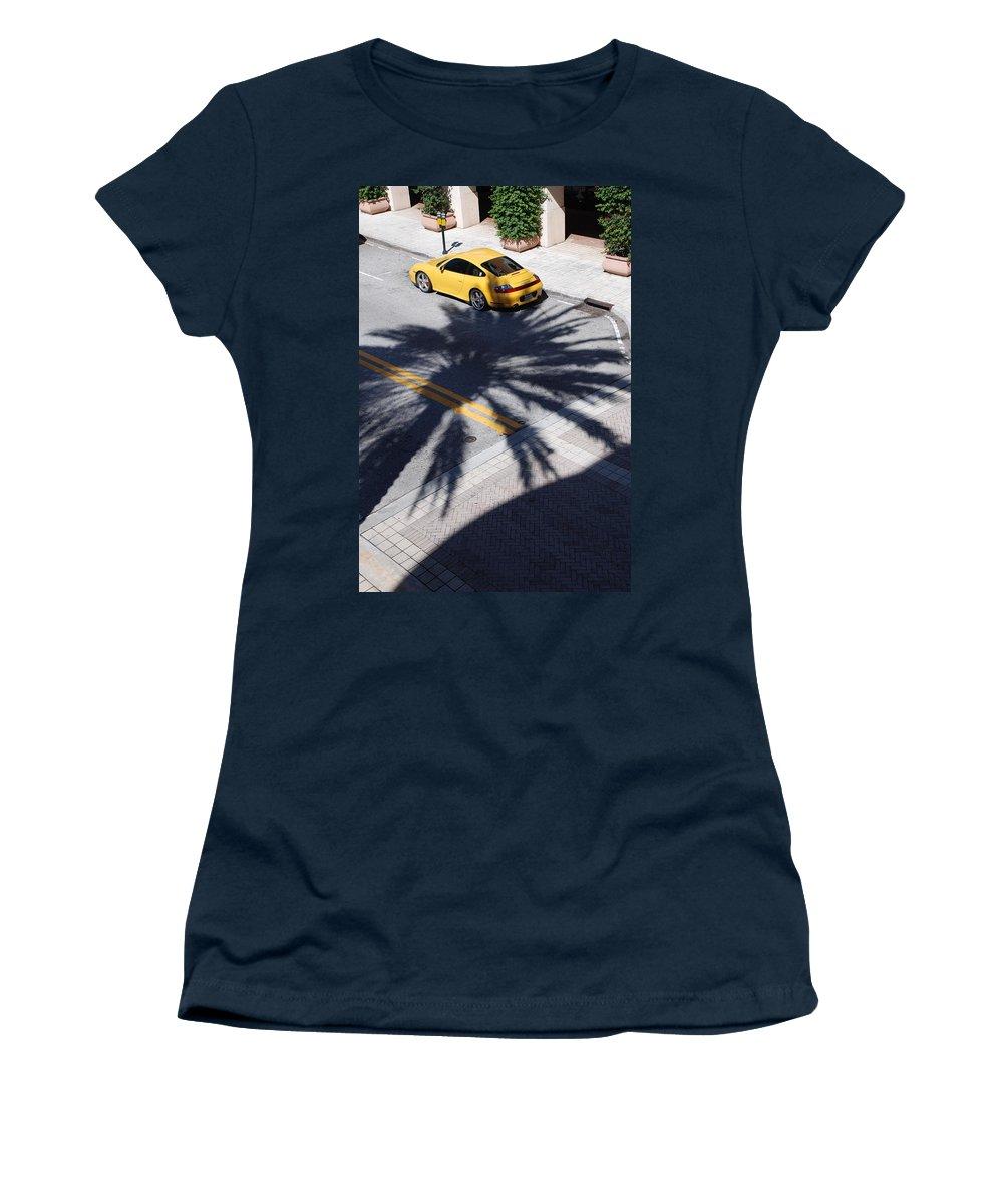 Porsche Women's T-Shirt (Athletic Fit) featuring the photograph Palm Porsche by Rob Hans