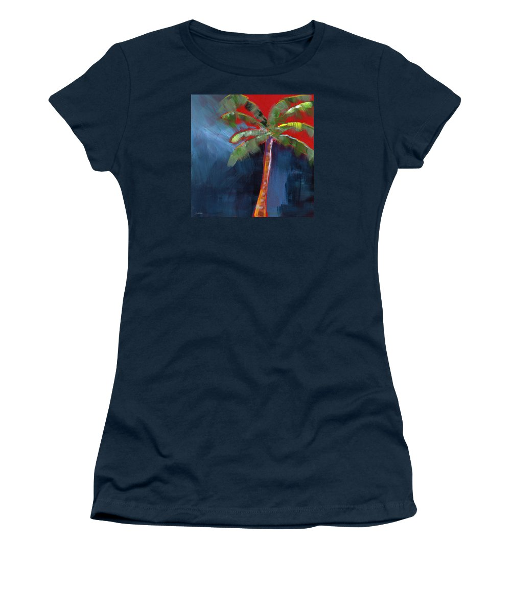 Palm Tree Women's T-Shirt featuring the painting Palm Tree- Art by Linda Woods by Linda Woods