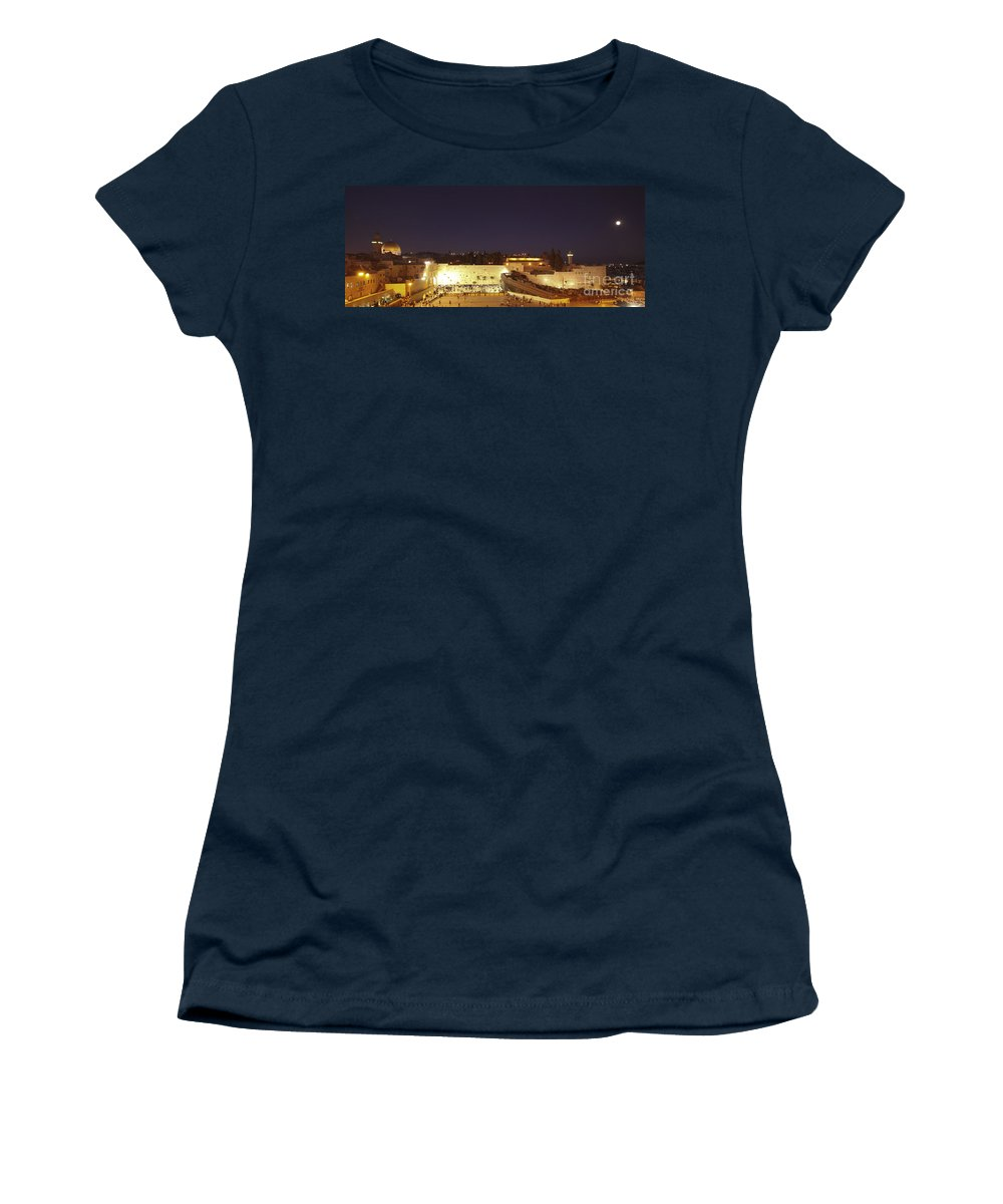 Israel Women's T-Shirt featuring the photograph Panoramic Night View Of The Wailing Wall by Alon Meir