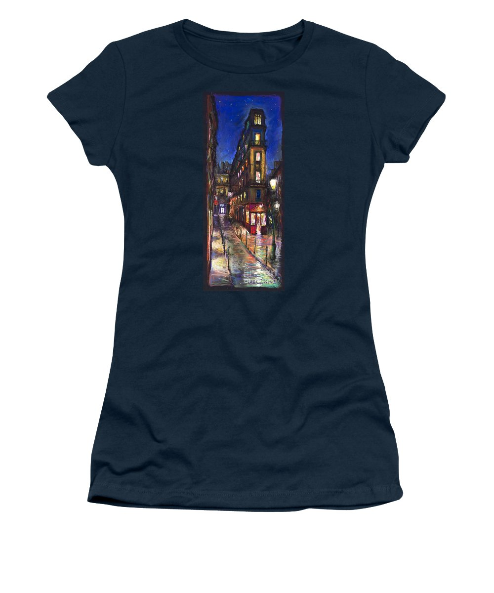 Landscape Women's T-Shirt (Athletic Fit) featuring the painting Paris Old Street by Yuriy Shevchuk