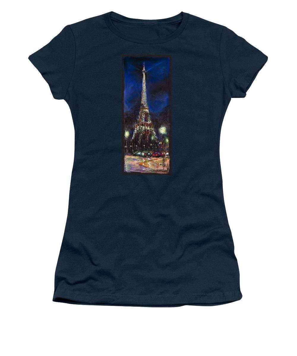 Pastel Women's T-Shirt (Athletic Fit) featuring the painting Paris Tour Eiffel by Yuriy Shevchuk