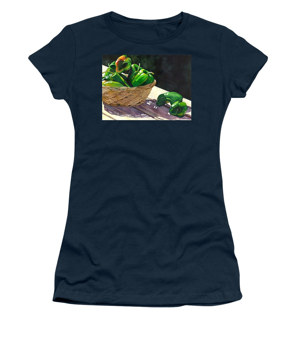 Peppers Women's T-Shirt featuring the painting Peppers by Catherine G McElroy