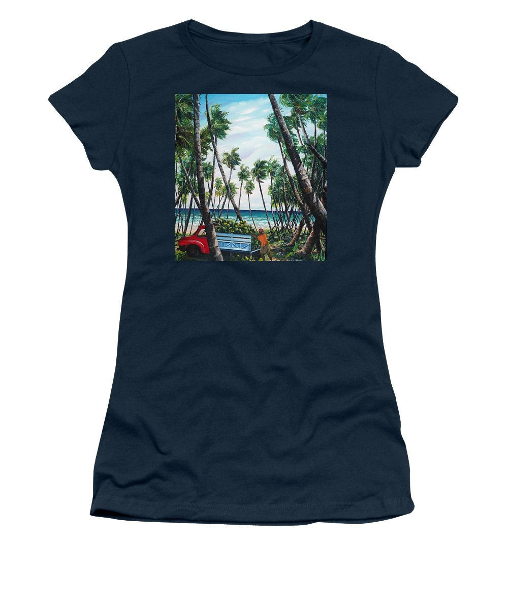 Beach Paintings Ocean Paintings  Caribbean Paintings Coconuts Paintings Tropical Paintings Truck Paintings Sea Paintings Trinidad And Tobago Paintings Tropical Paintings. Greeting Card Paintings Canvas Print Paintings Poster Paintings Women's T-Shirt (Athletic Fit) featuring the painting Picking Coconuts .. Mayaro by Karin Dawn Kelshall- Best