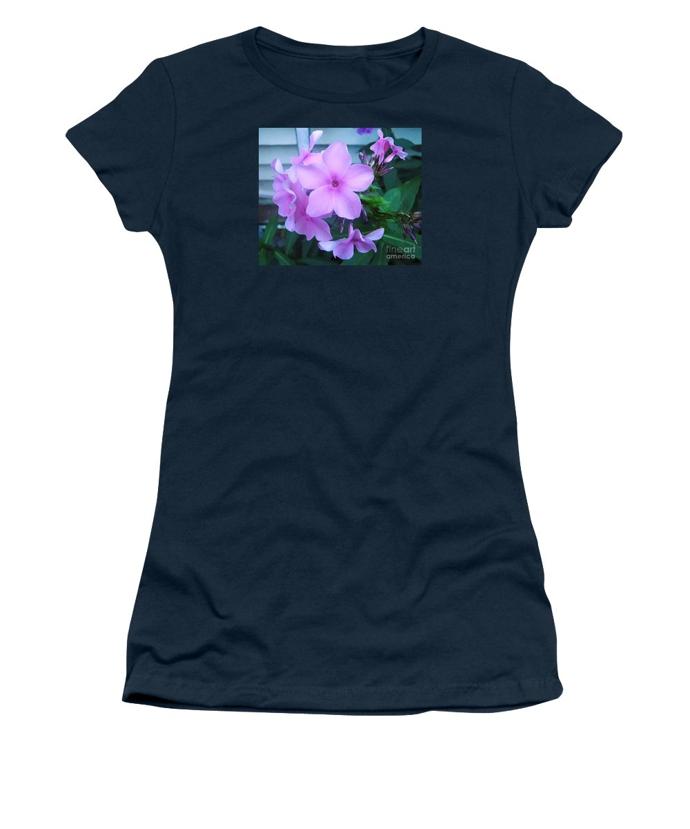 Pink Flowers Artwork Women's T-Shirt featuring the photograph Pink Flowers In The Garden by Reb Frost