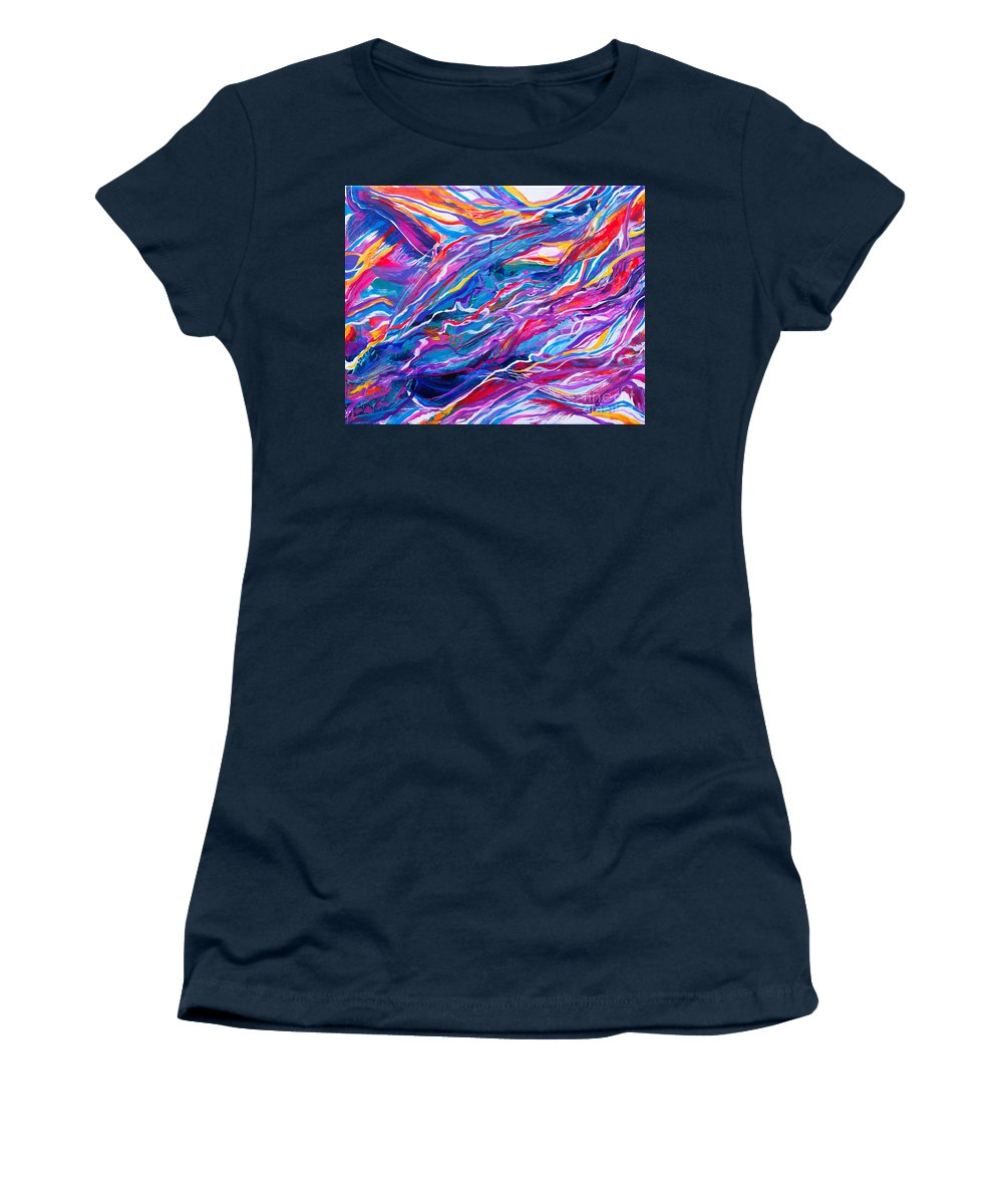 Filaments Lines Strokes Rushing Water Full Of Vibrant Color And Dynamic Movement Energy Contemporary Original Abstract Women's T-Shirt featuring the painting Playful stream by Priscilla Batzell Expressionist Art Studio Gallery