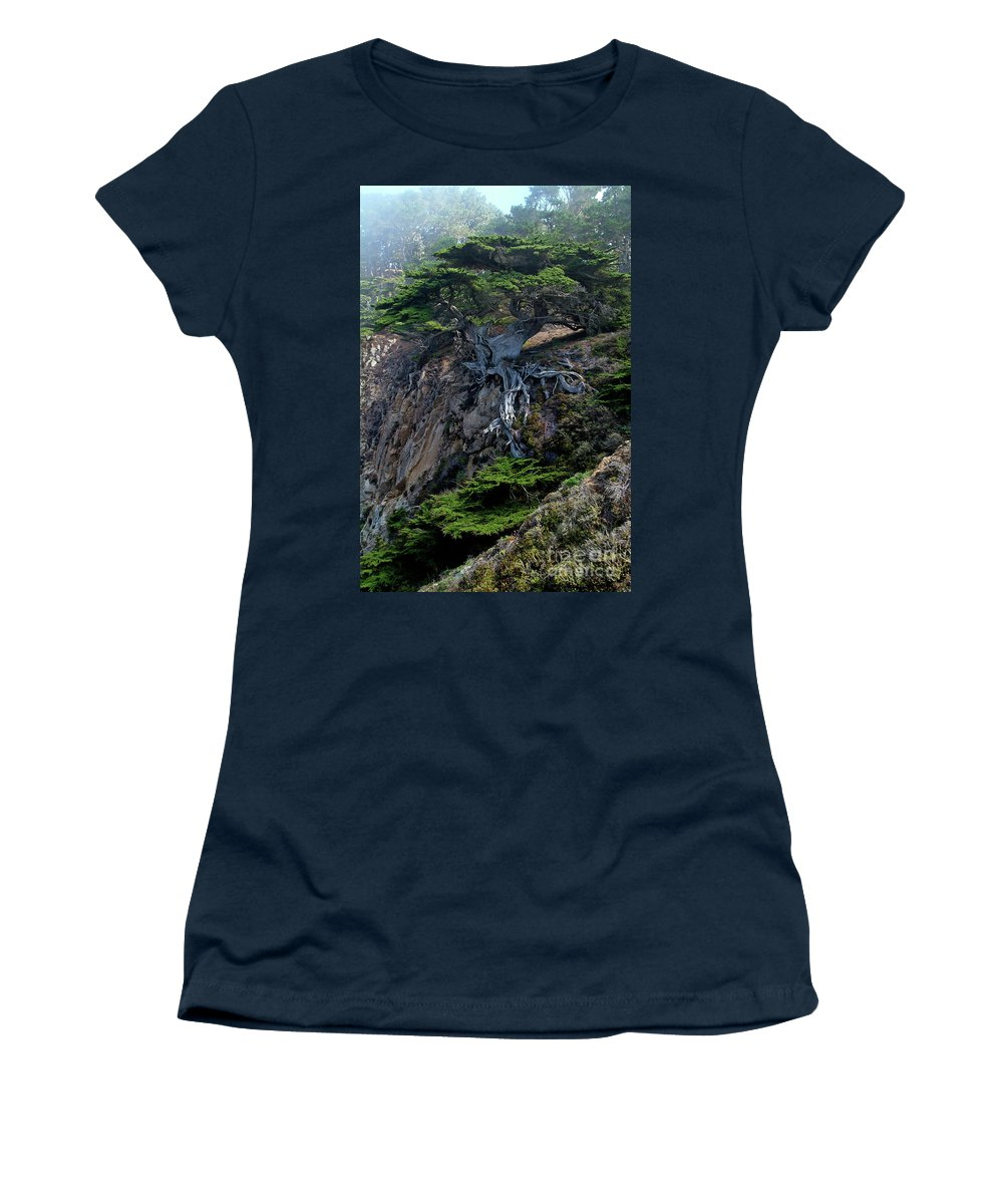 Landscape Women's T-Shirt (Athletic Fit) featuring the photograph Point Lobos Veteran Cypress Tree by Charlene Mitchell
