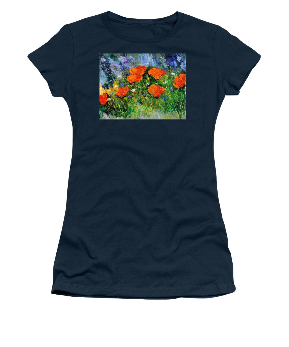 Poppies Women's T-Shirt featuring the painting Poppies 79 by Pol Ledent