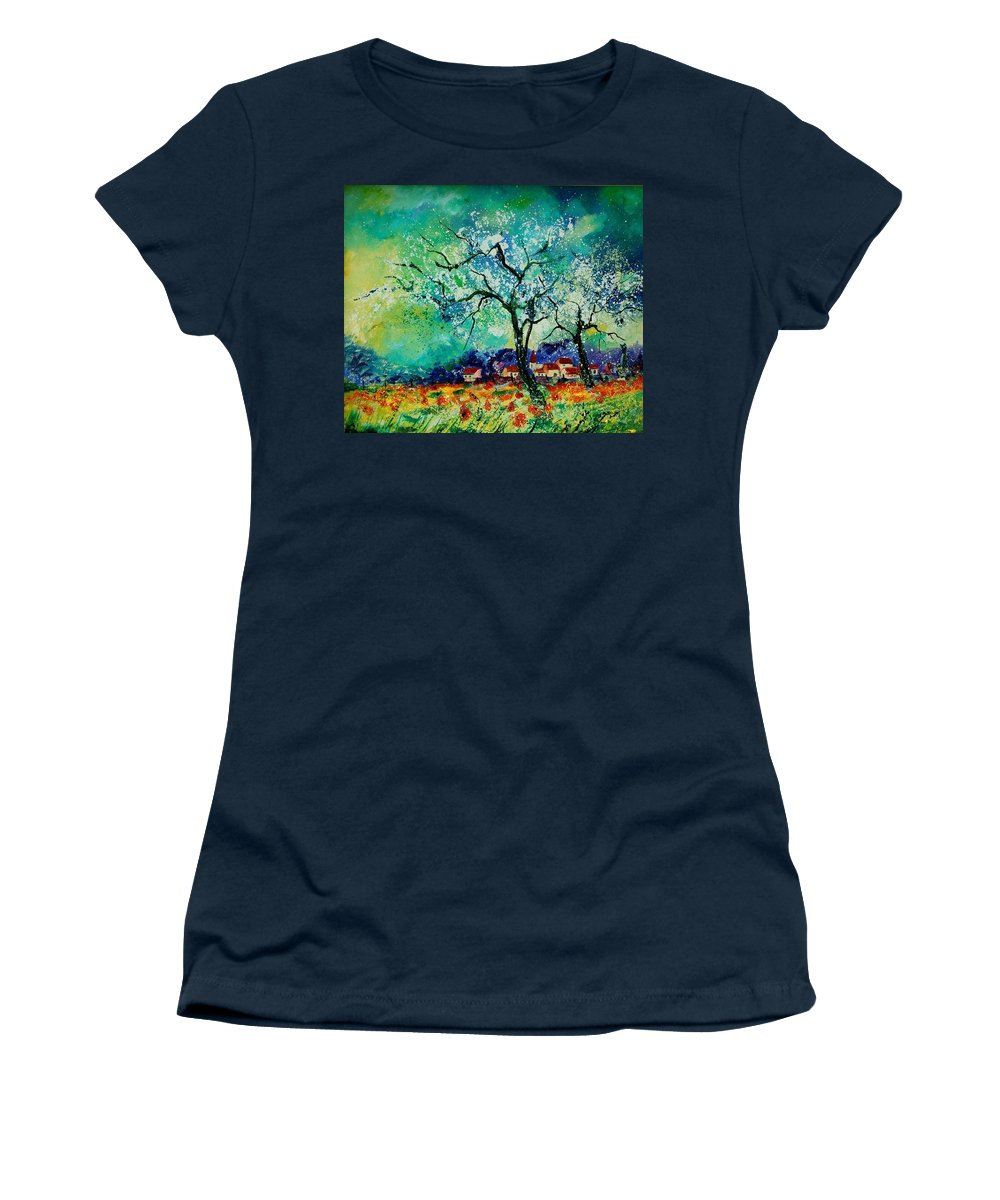 Landscape Women's T-Shirt (Athletic Fit) featuring the painting Poppies And Appletrees In Blossom by Pol Ledent