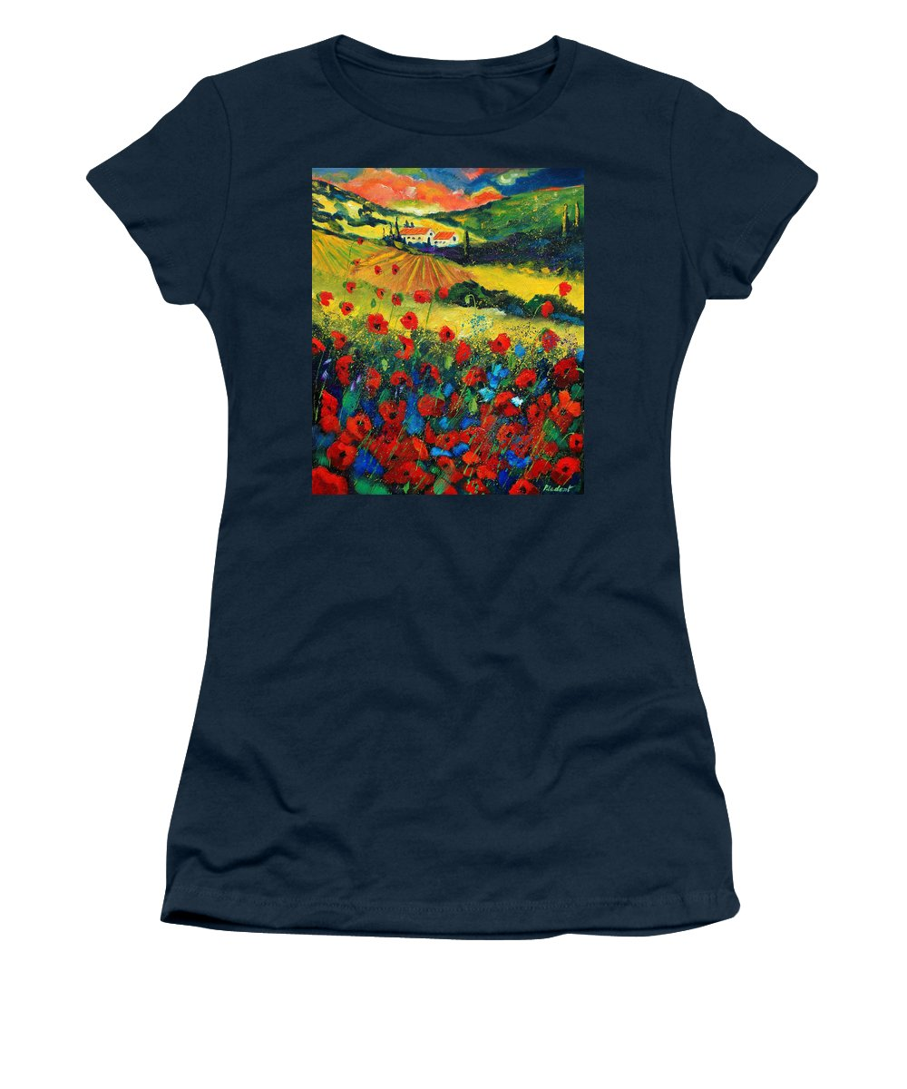 Flowers Women's T-Shirt (Athletic Fit) featuring the painting Poppies In Tuscany by Pol Ledent