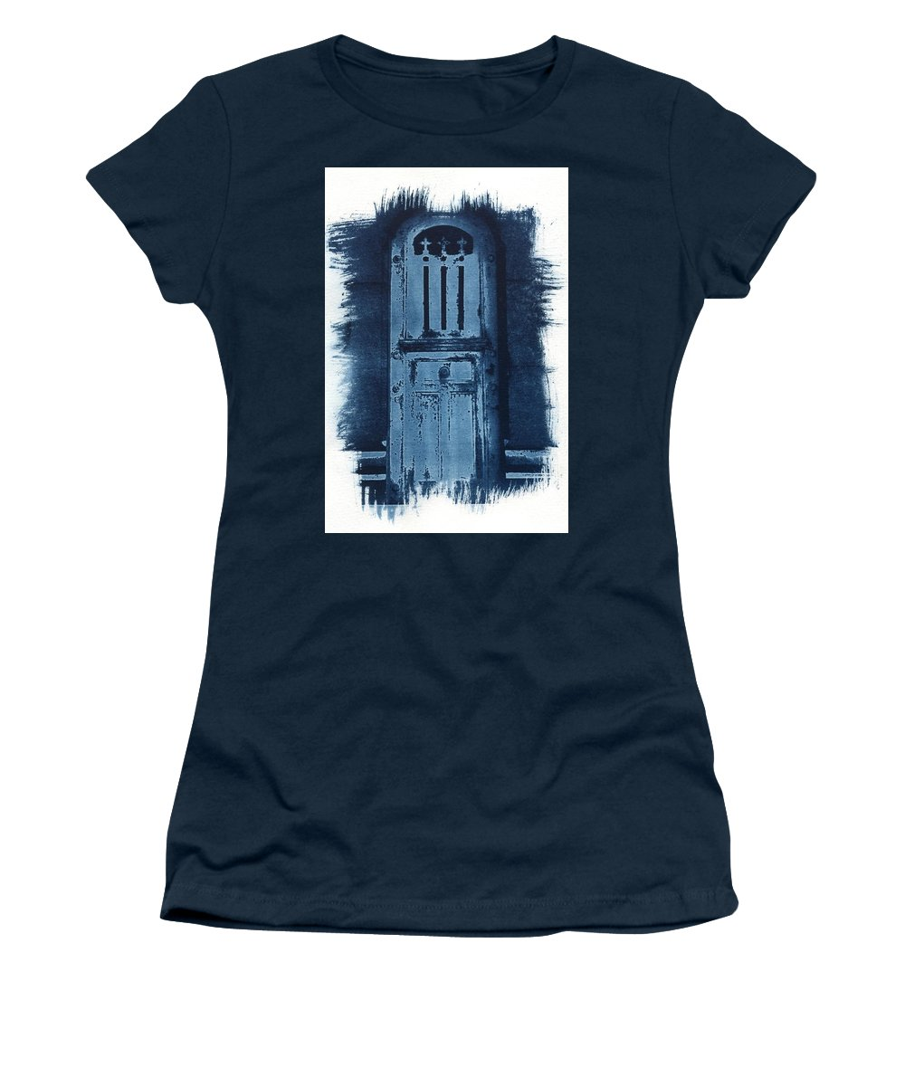 Cyanotype Women's T-Shirt (Athletic Fit) featuring the photograph Portals by Jane Linders