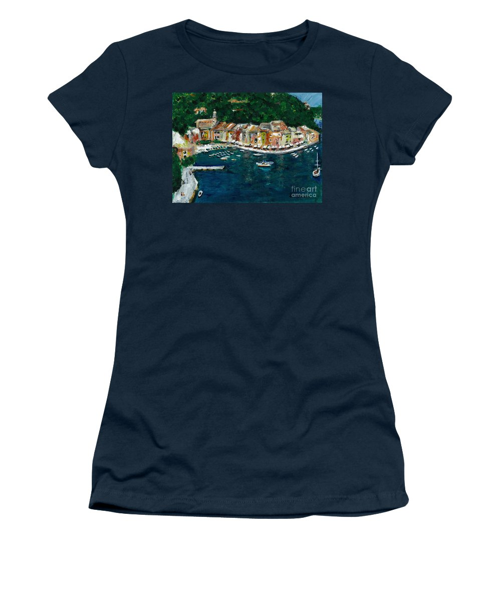 Abstact Italy Women's T-Shirt (Athletic Fit) featuring the painting Portifino Italy by Frances Marino
