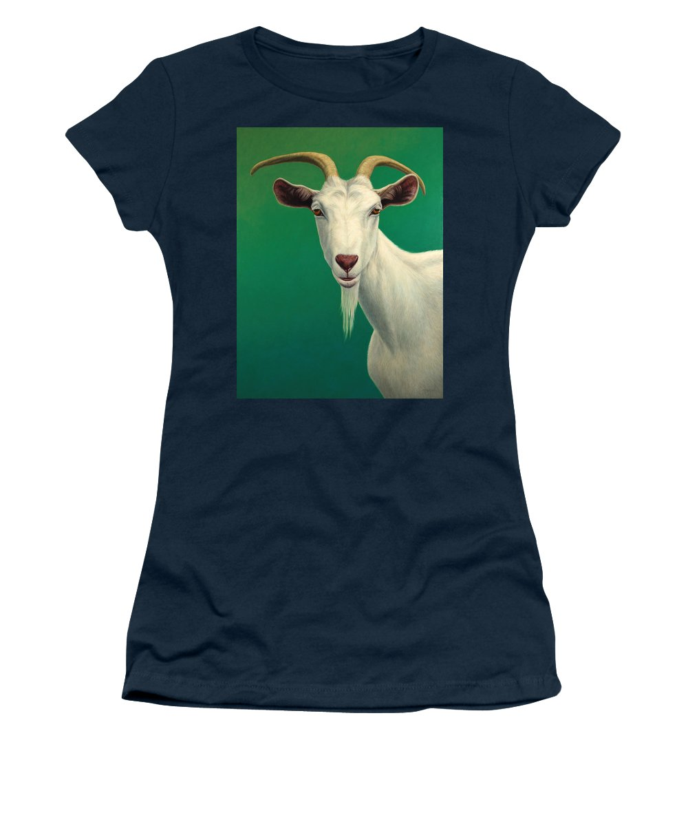 Goat Women's T-Shirt featuring the painting Portrait Of A Goat by James W Johnson