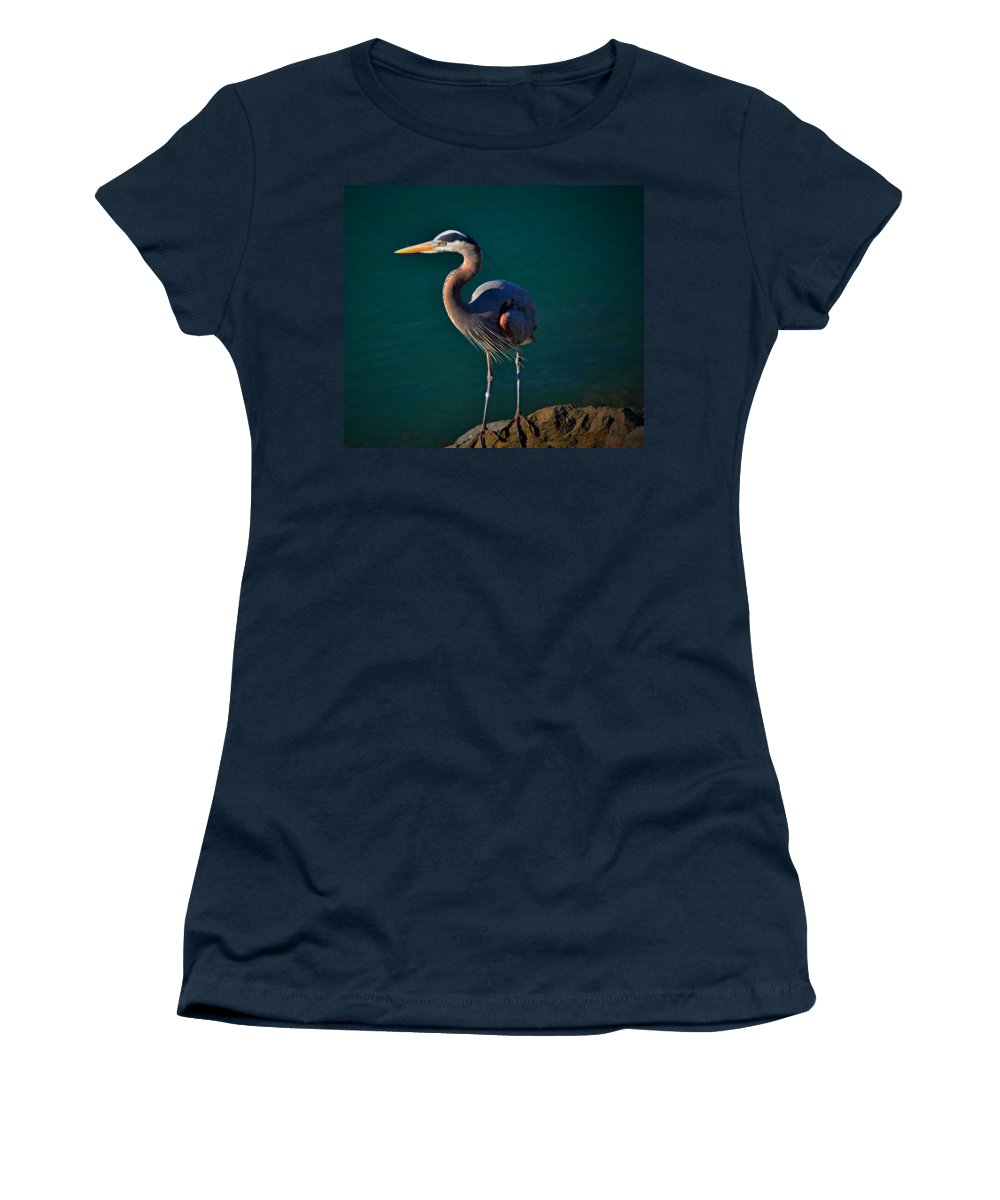 Bird Women's T-Shirt (Athletic Fit) featuring the photograph Portrait Of An Heron by See My Photos