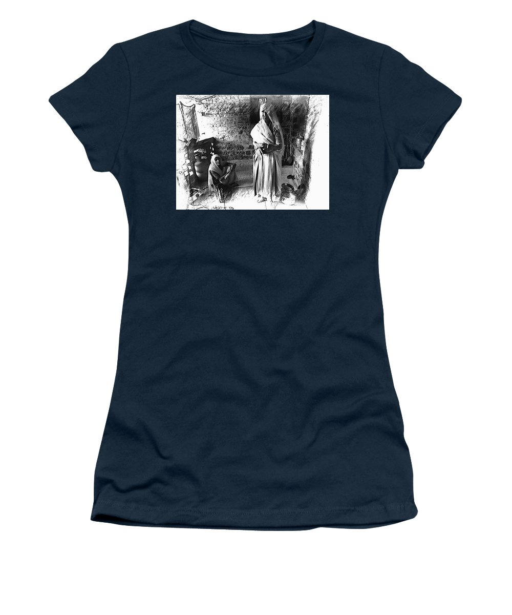 Sisters Women's T-Shirt (Athletic Fit) featuring the photograph Portrait Sisters Village Elders Seniors Indian Rajasthani Bnw 2a by Sue Jacobi