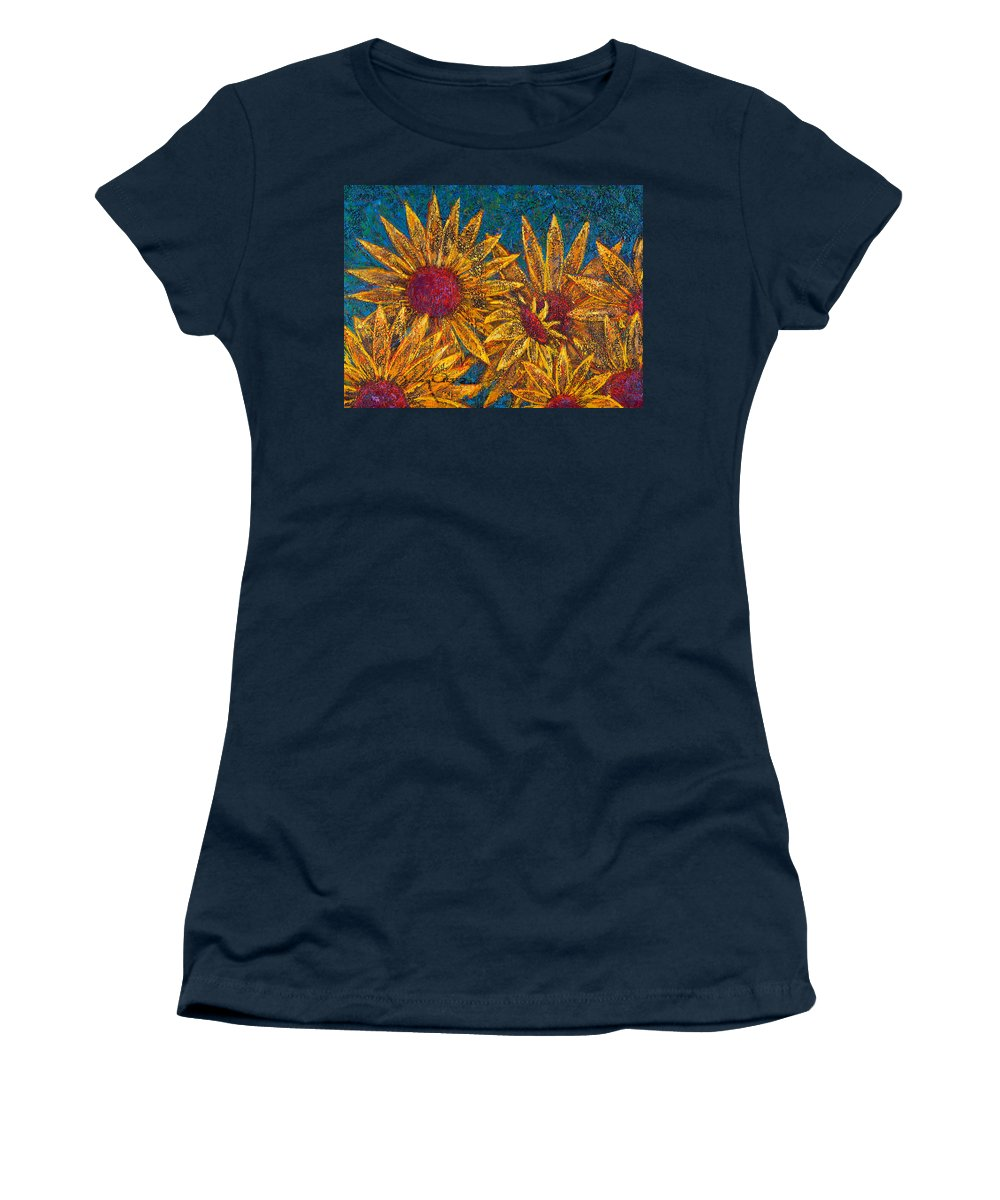 Flowers Women's T-Shirt featuring the painting Positivity by Oscar Ortiz