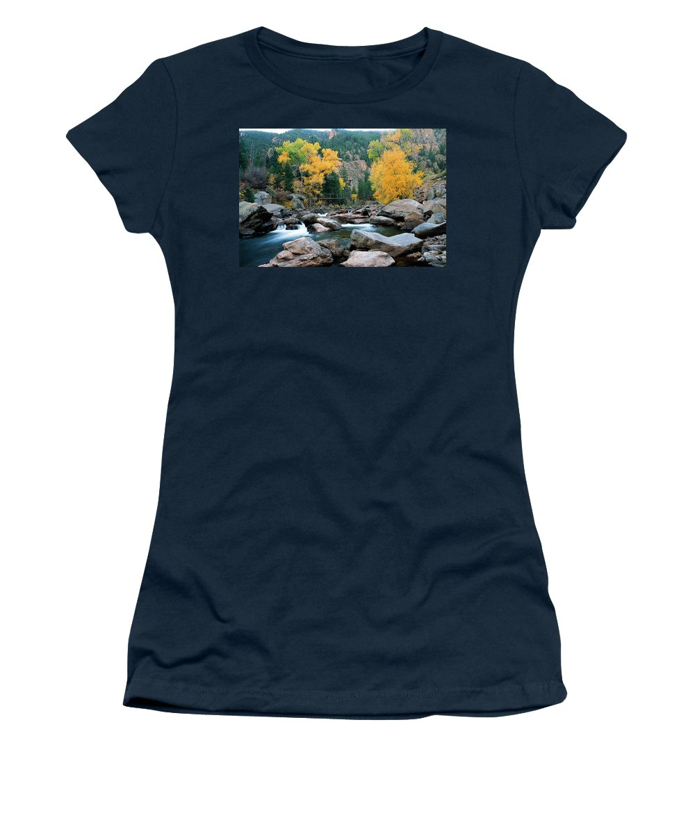 Colorado Women's T-Shirt featuring the photograph Poudre Gold by Jim Benest