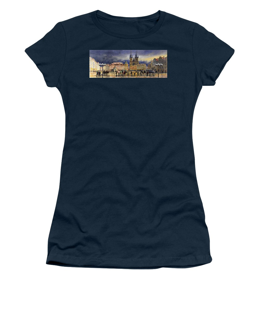 Watercolor Women's T-Shirt featuring the painting Prague Old Town Squere After rain by Yuriy Shevchuk