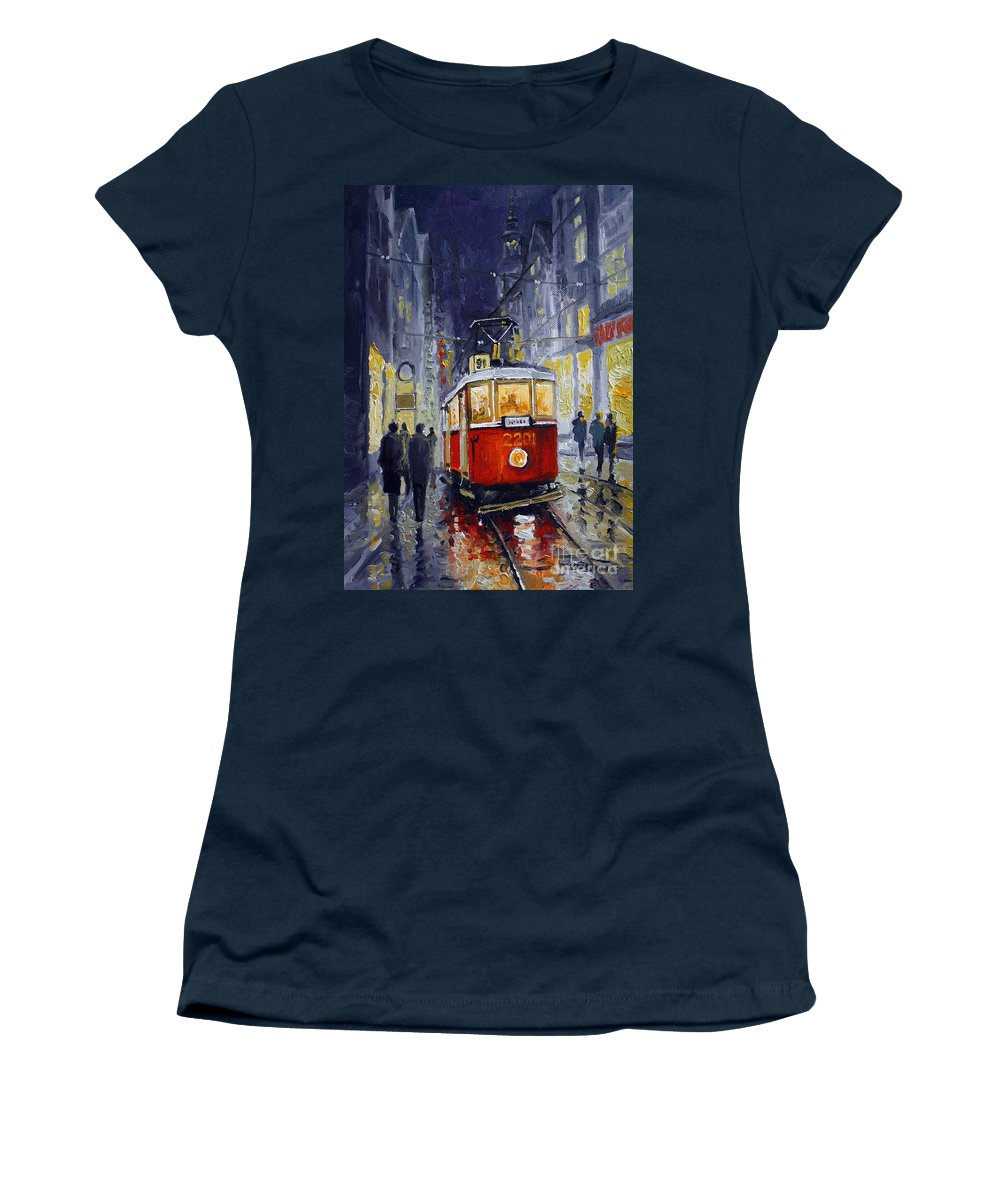 Oil Women's T-Shirt (Athletic Fit) featuring the painting Prague Old Tram 06 by Yuriy Shevchuk