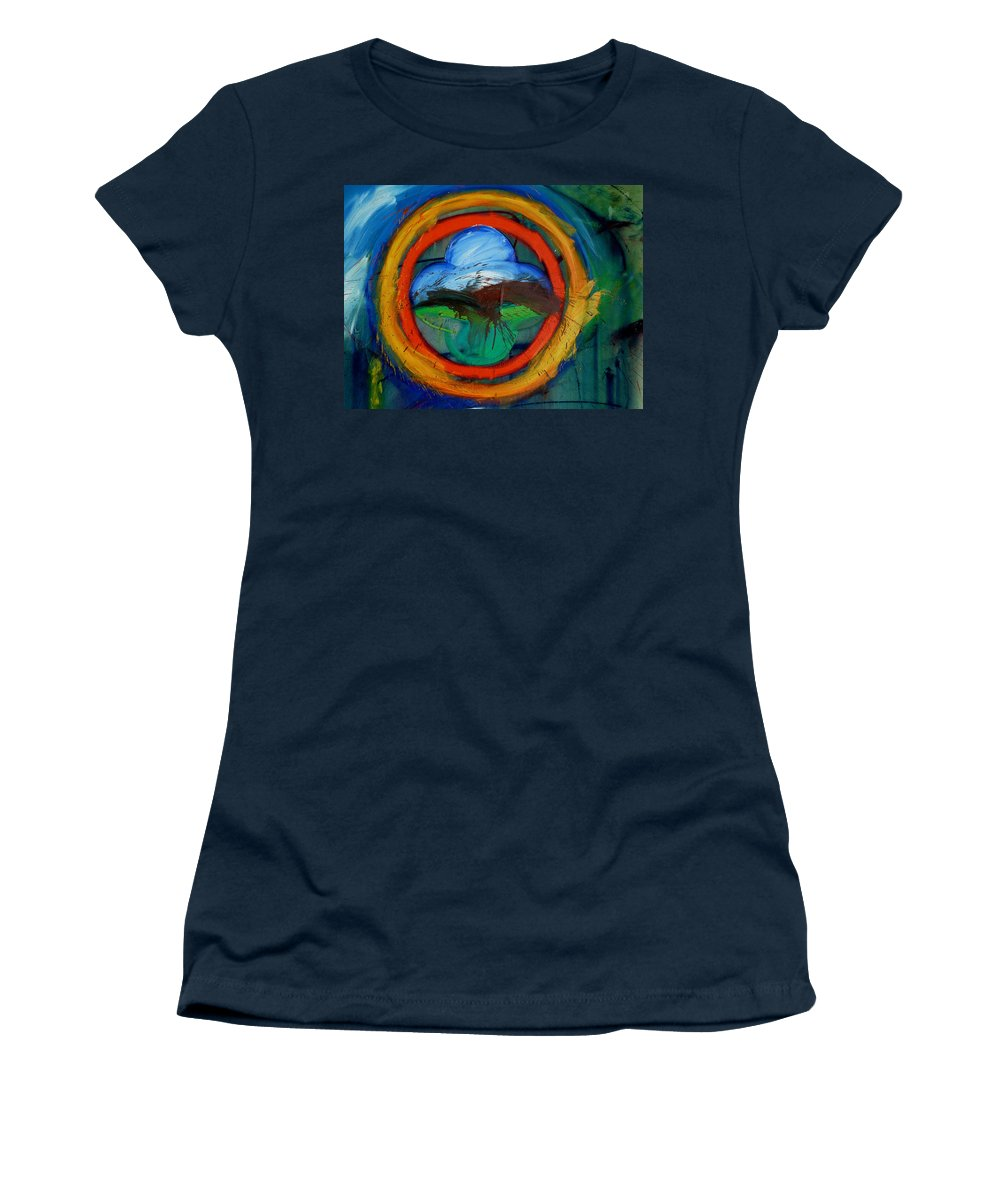 Landscape Women's T-Shirt (Athletic Fit) featuring the painting Promised Land by Charles Stuart