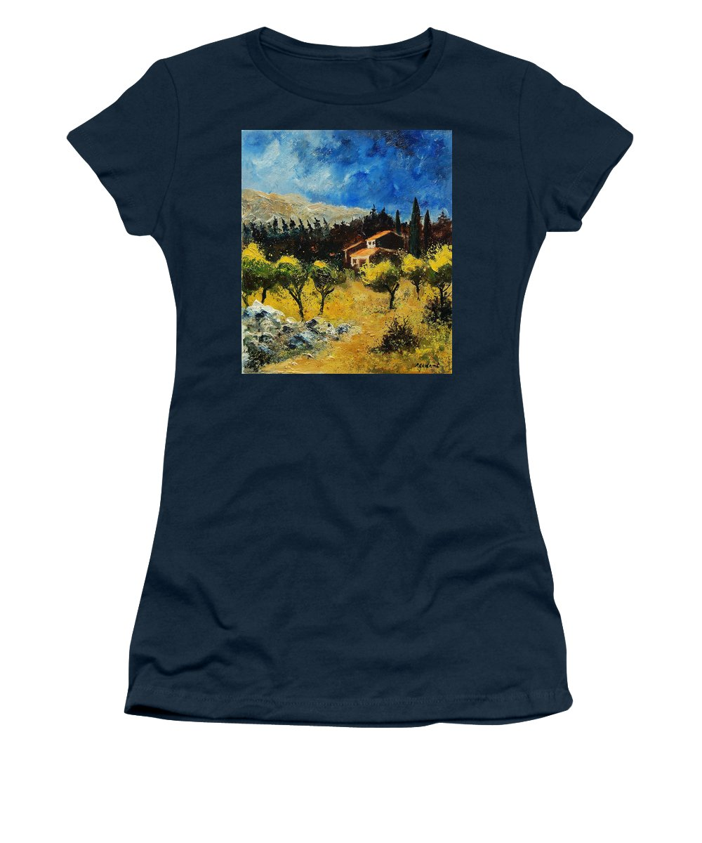 Provence Women's T-Shirt (Athletic Fit) featuring the painting Provence 678965 by Pol Ledent