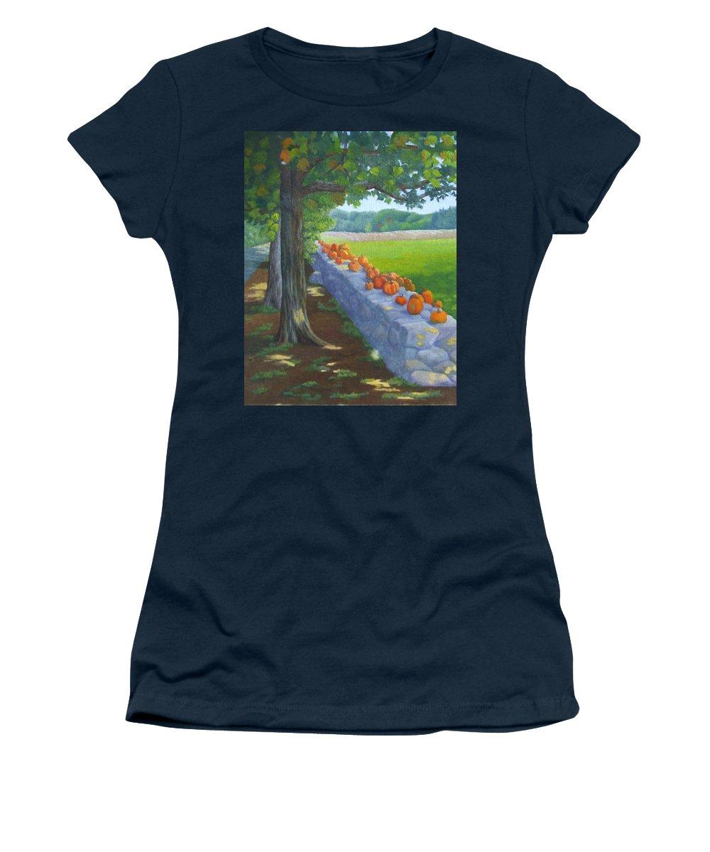 Pumpkins Women's T-Shirt featuring the painting Pumpkin Muster by Sharon E Allen