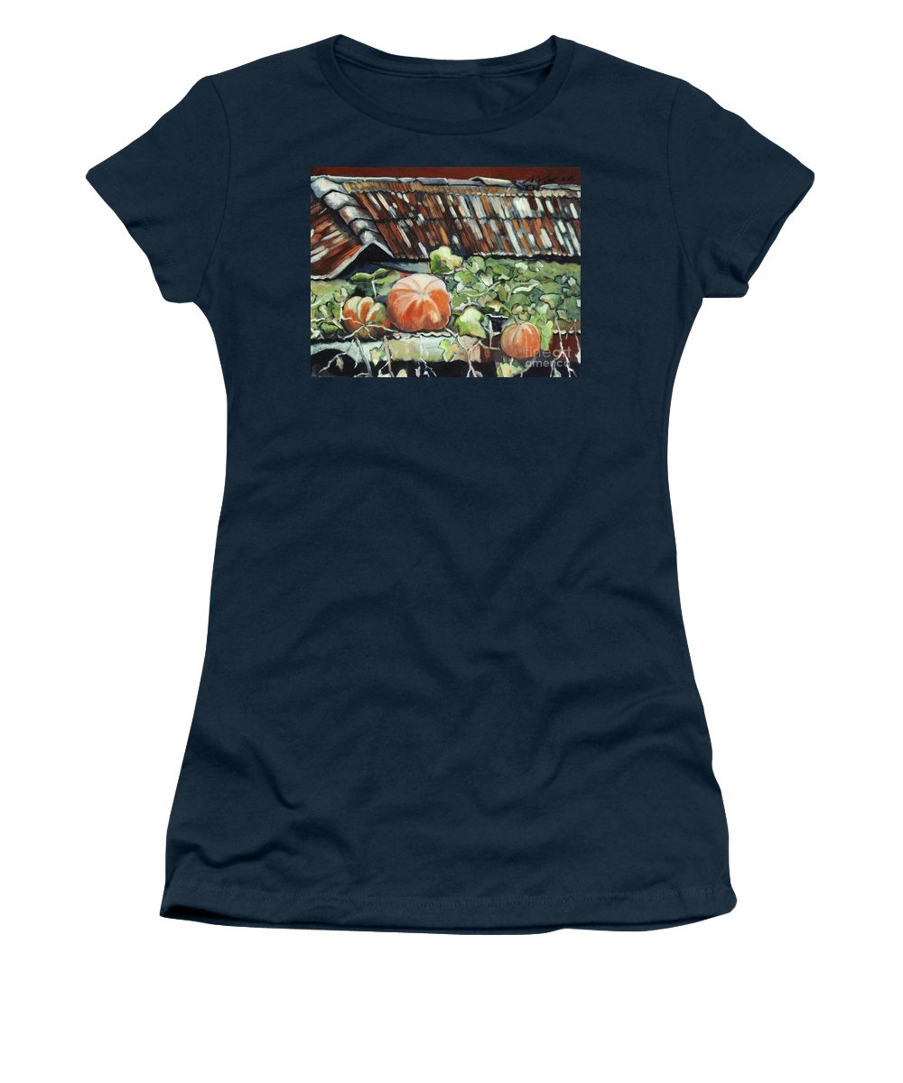 Pumpkin Paintings Women's T-Shirt (Athletic Fit) featuring the painting Pumpkins On Roof by Seon-Jeong Kim