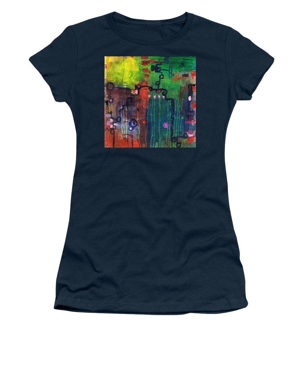 Abstract Women's T-Shirt featuring the painting Punctuated Silences by Regina Valluzzi