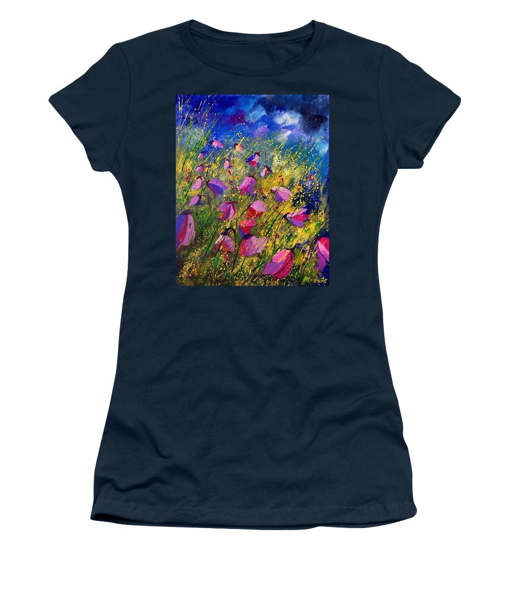 Poppies Women's T-Shirt (Athletic Fit) featuring the painting Purple Wild Flowers by Pol Ledent