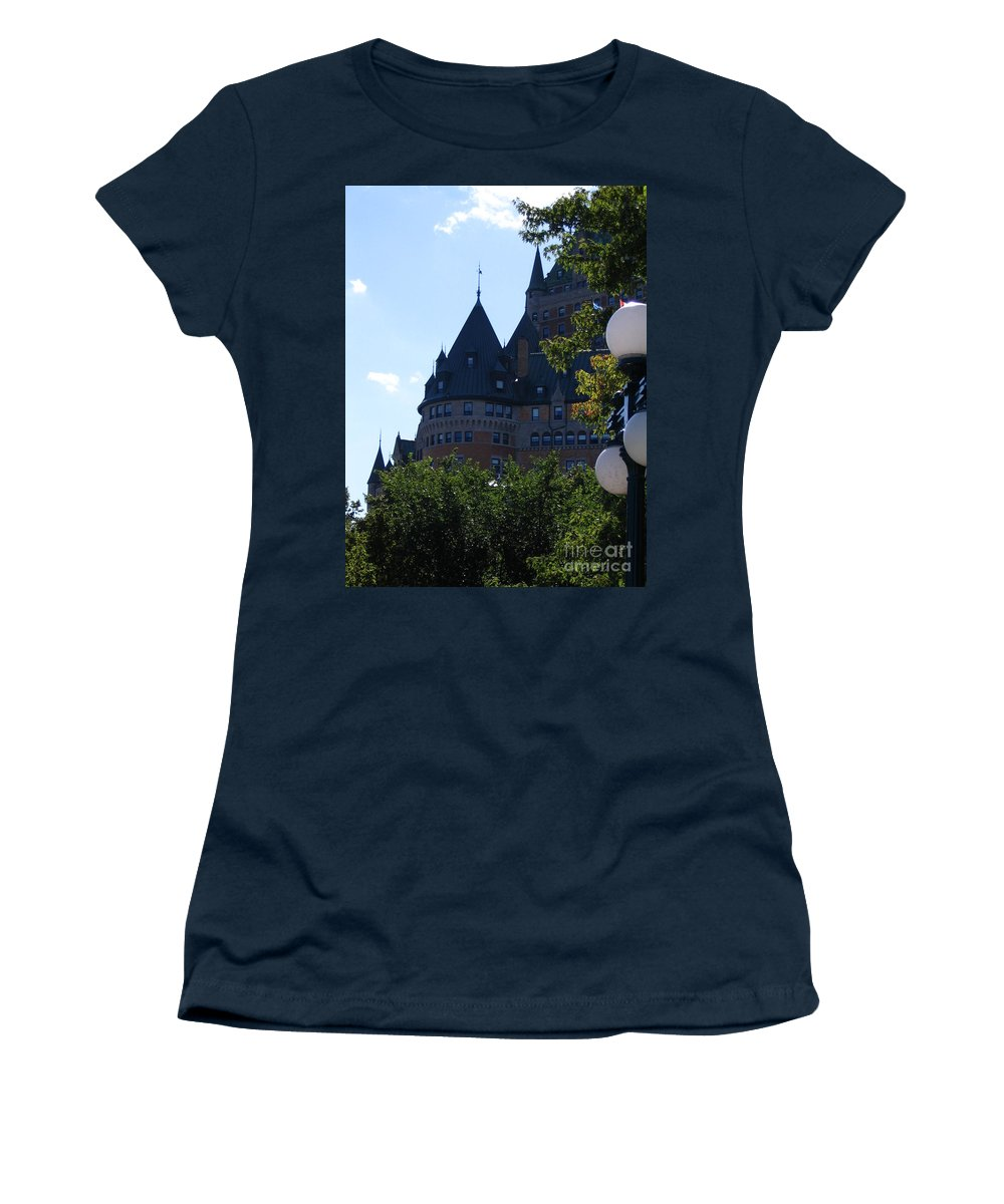 Chateau Frontenac Women's T-Shirt (Athletic Fit) featuring the photograph Quebec City by Line Gagne