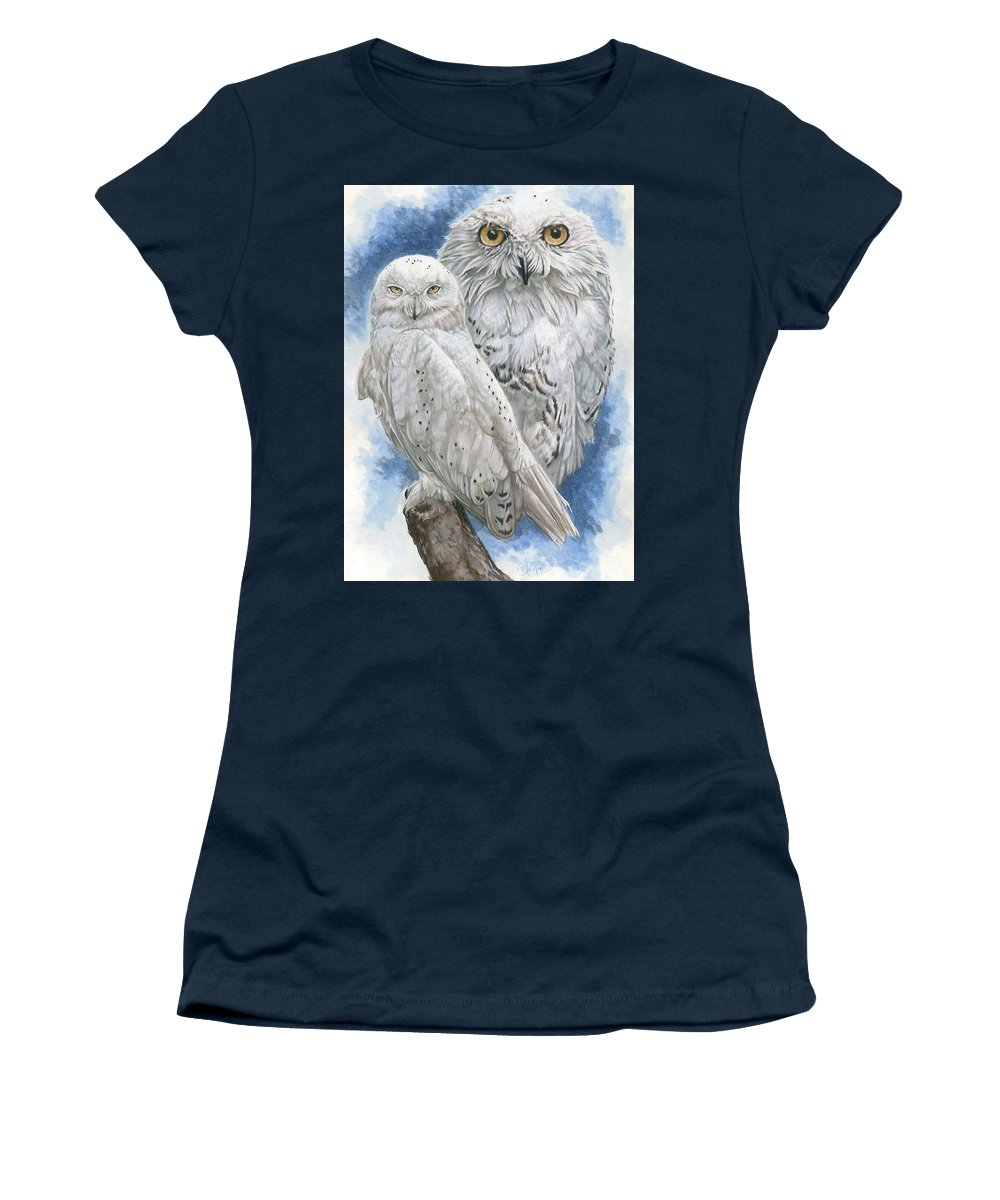 Snowy Owl Women's T-Shirt featuring the mixed media Radiant by Barbara Keith