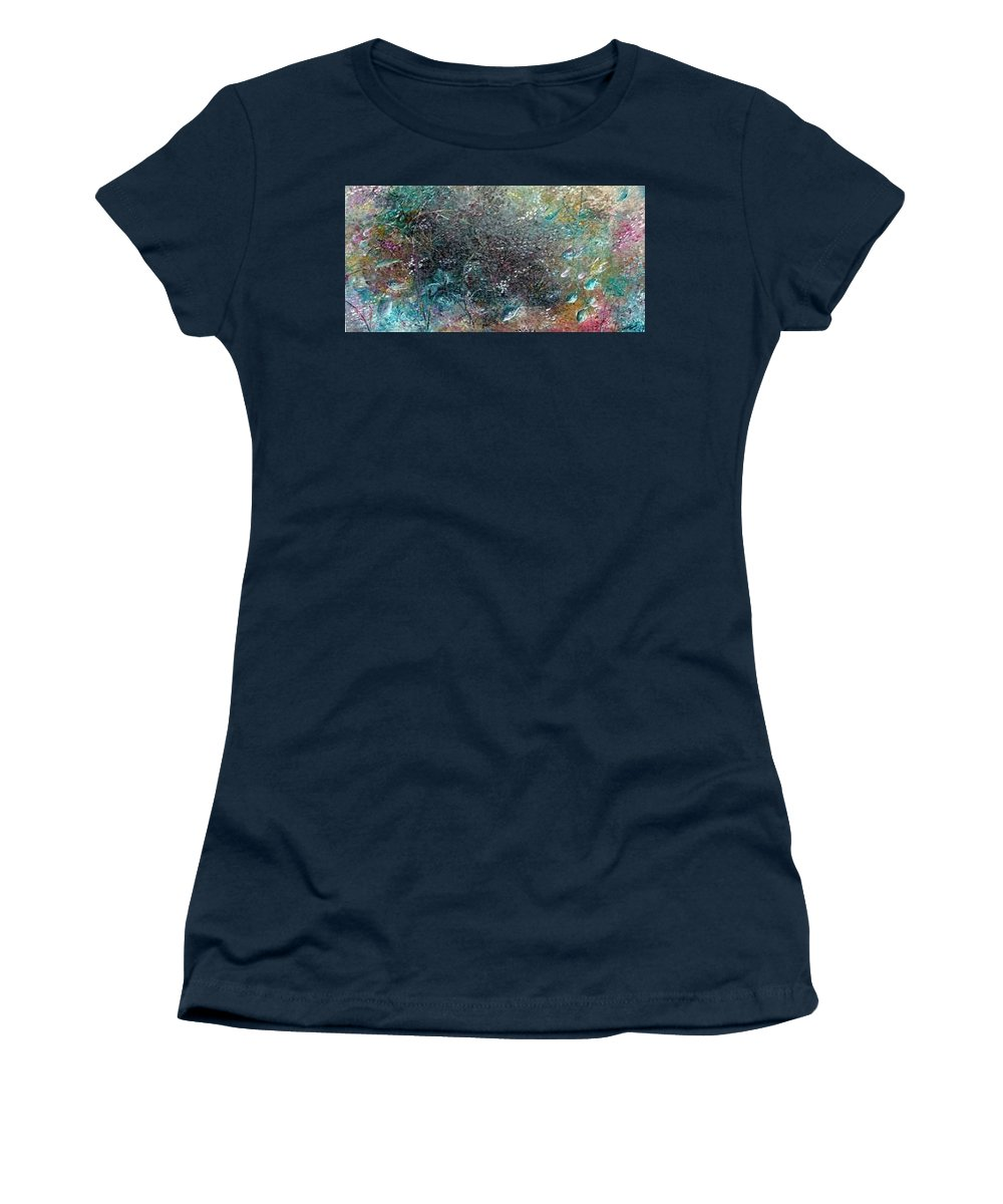 Original Abstract Painting Of Under The Sea Women's T-Shirt featuring the painting Rainbow Reef by Karin Dawn Kelshall- Best