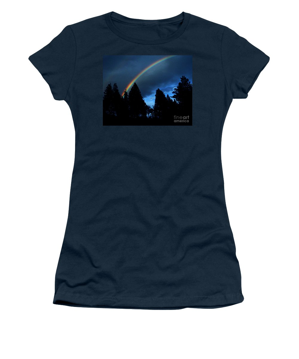 Rainbow Women's T-Shirt (Athletic Fit) featuring the photograph Rainbow Sky by Peter Piatt