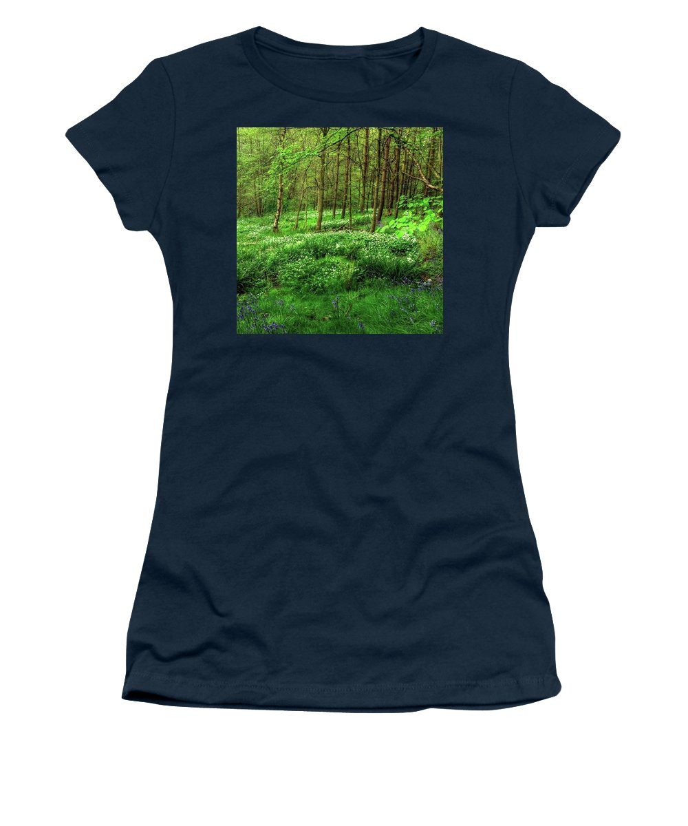 Nature Women's T-Shirt featuring the photograph Ramsons And Bluebells, Bentley Woods by John Edwards