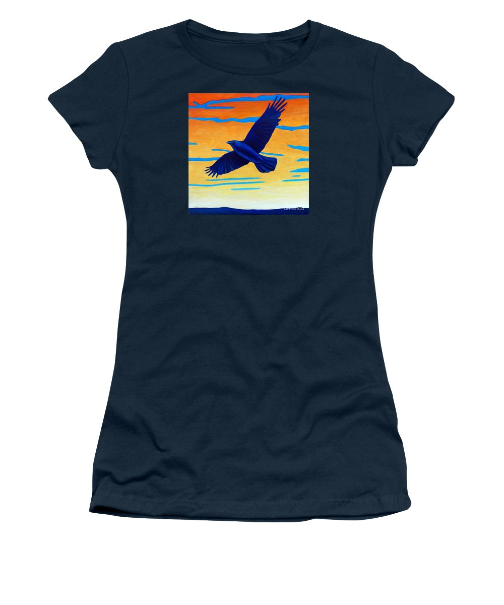Raven Women's T-Shirt featuring the painting Raven Rising by Brian Commerford