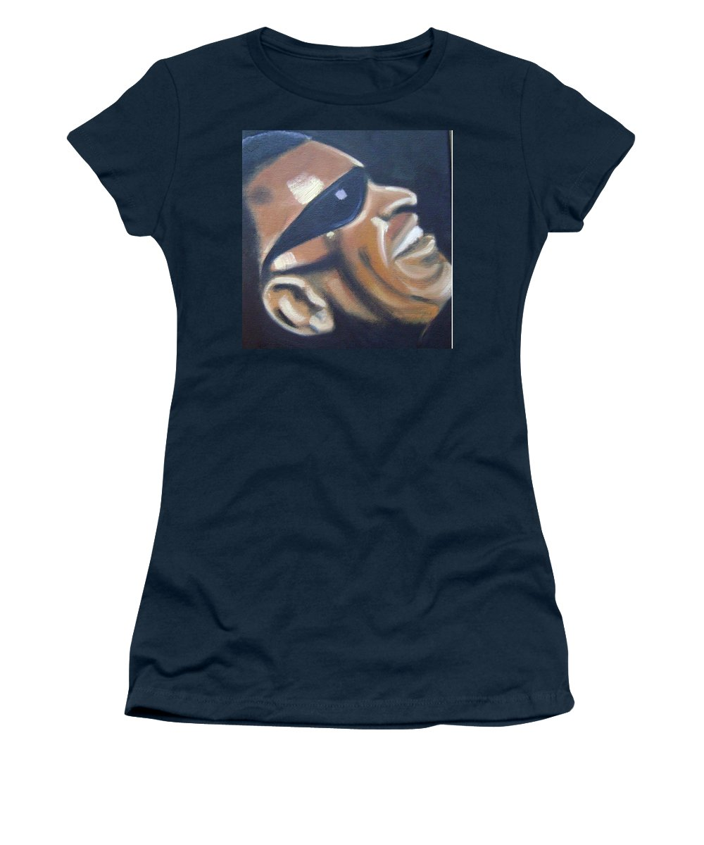 Ray Charles Women's T-Shirt featuring the painting Ray Charles by Toni Berry
