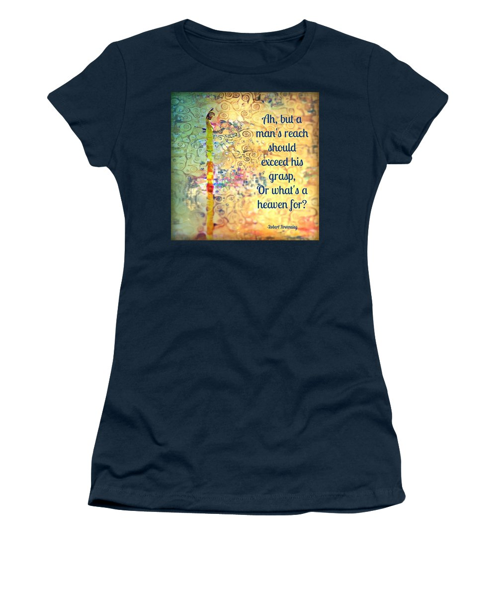 Robert Browning Women's T-Shirt (Athletic Fit) featuring the mixed media Reach 2.0 by Candee Lucas