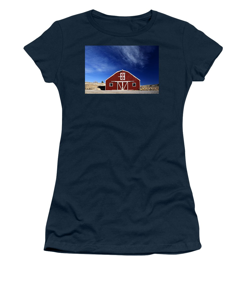 Americana Women's T-Shirt (Athletic Fit) featuring the photograph Red And White Barn by Marilyn Hunt