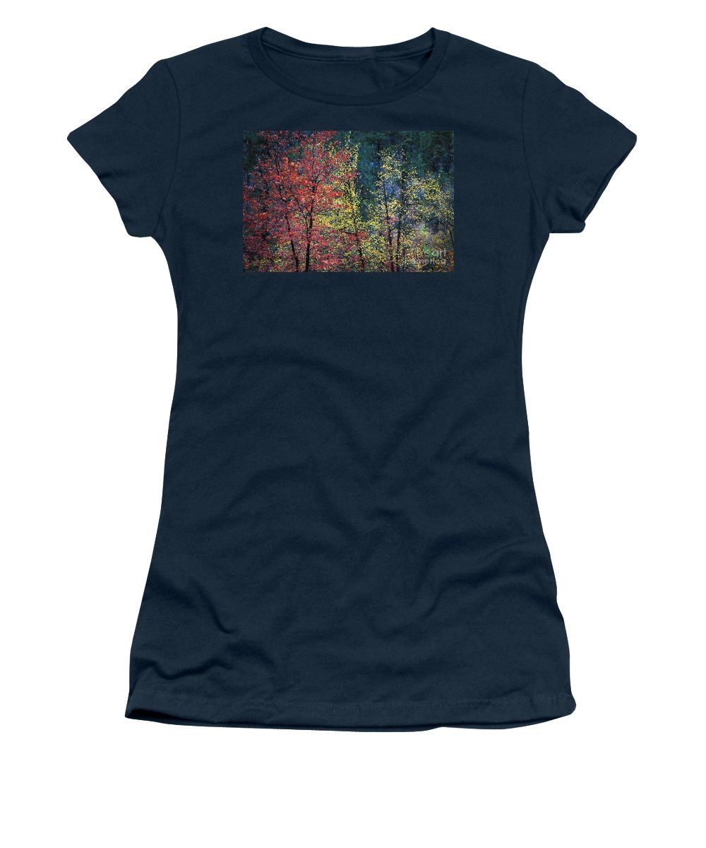 Landscape Women's T-Shirt featuring the photograph Red And Yellow Leaves Abstract Horizontal Number 1 by Heather Kirk