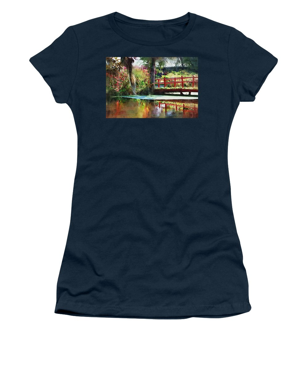 Red Bridge Women's T-Shirt (Athletic Fit) featuring the photograph Red Bridge by Donna Bentley