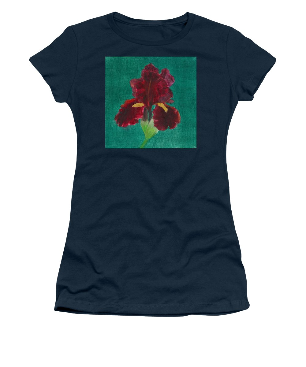 Flower Women's T-Shirt featuring the painting Red Iris by Paula Emery