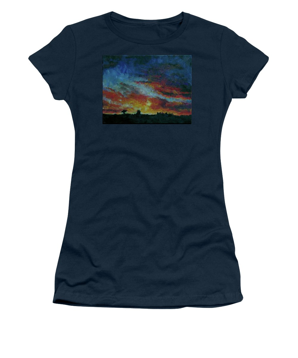 Skyscape Women's T-Shirt featuring the painting Red Orange Evening by Susan Moore