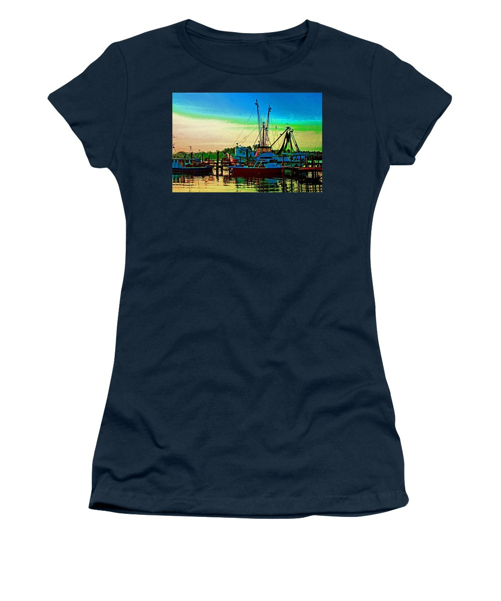 Shrimp Boat Women's T-Shirt (Athletic Fit) featuring the painting Red Sunrise And The Shrimp Boat by Michael Thomas