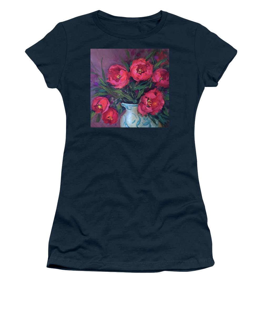Tulips Women's T-Shirt featuring the painting Red Velvet Tulips by Nancy Medina