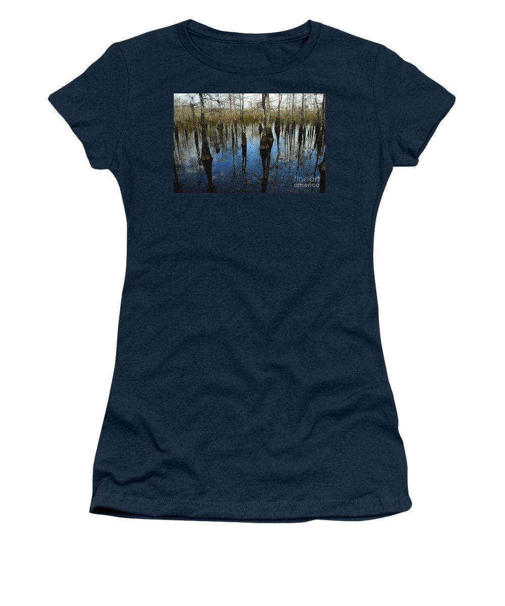 Bald Cypress Trees Women's T-Shirt featuring the photograph Reflections At Big Cypress by David Lee Thompson