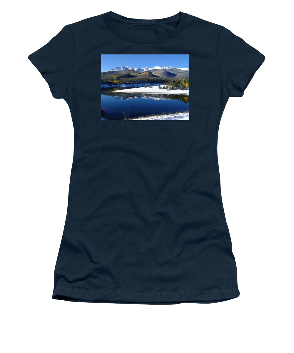 Landscape Women's T-Shirt (Athletic Fit) featuring the photograph Reflections Of Pikes Peak In Crystal Reservoir by Carol Milisen