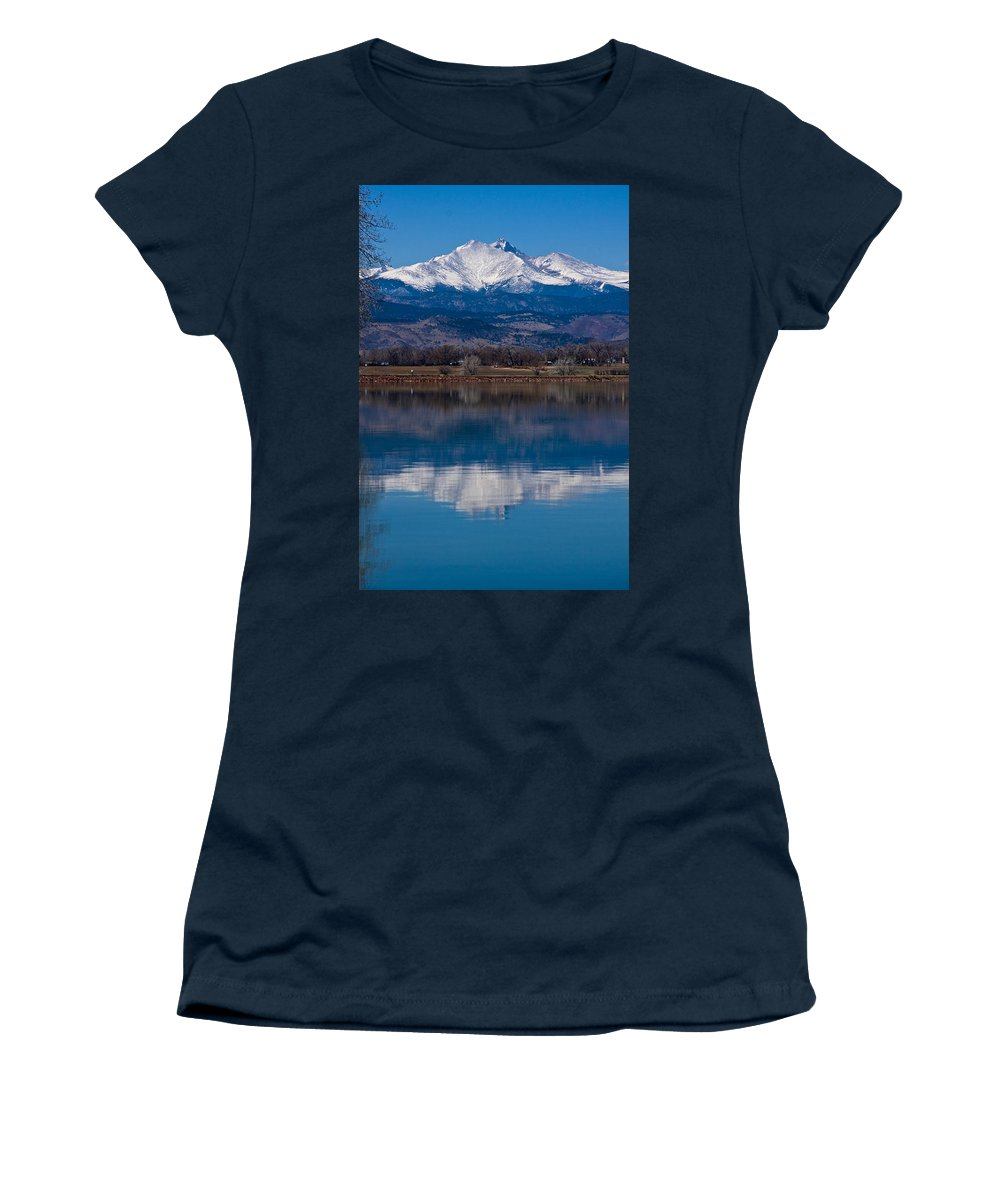 Twin Peaks Women's T-Shirt featuring the photograph Reflections Of The Twin Peaks by James BO Insogna