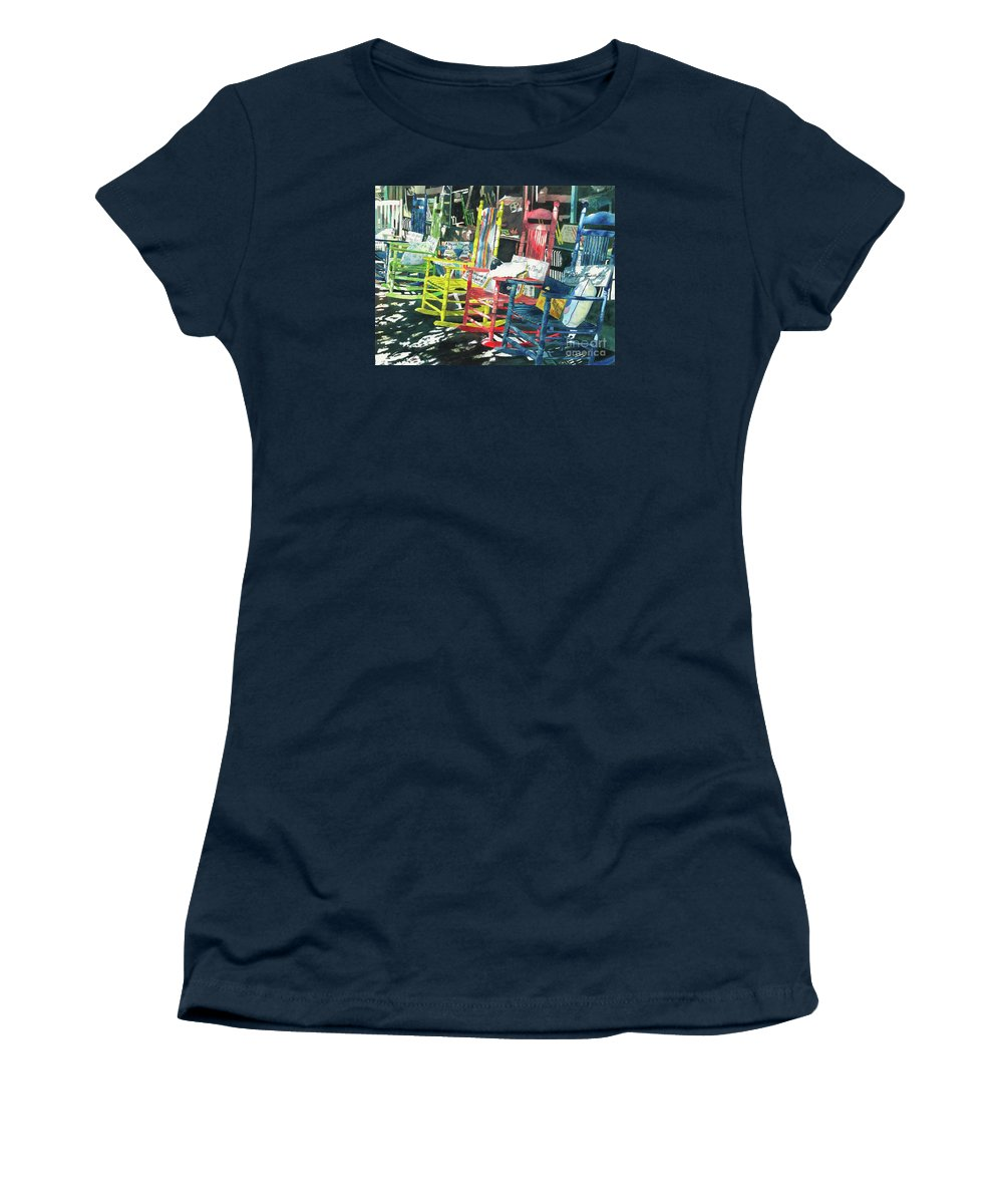 Chairs Women's T-Shirt (Athletic Fit) featuring the painting Rock On by LeAnne Sowa