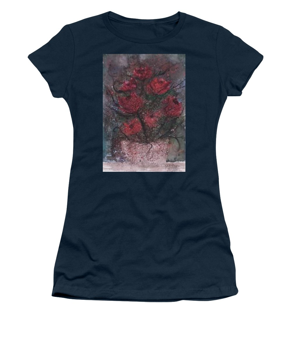 Watercolor Women's T-Shirt featuring the painting ROSES AT NIGHT gothic surreal modern painting poster print by Derek Mccrea