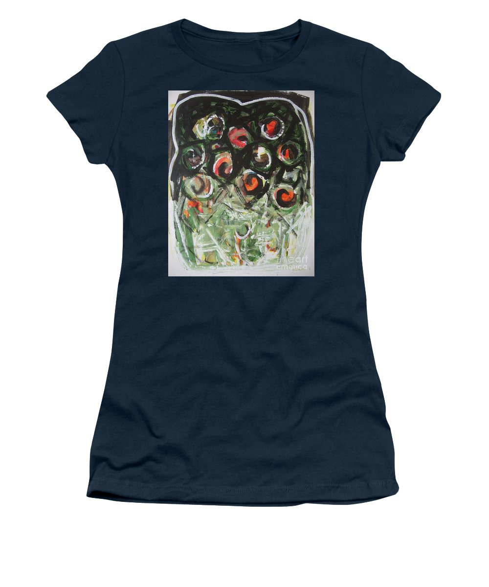 Abstract Painting Women's T-Shirt (Athletic Fit) featuring the painting Roses by Seon-Jeong Kim