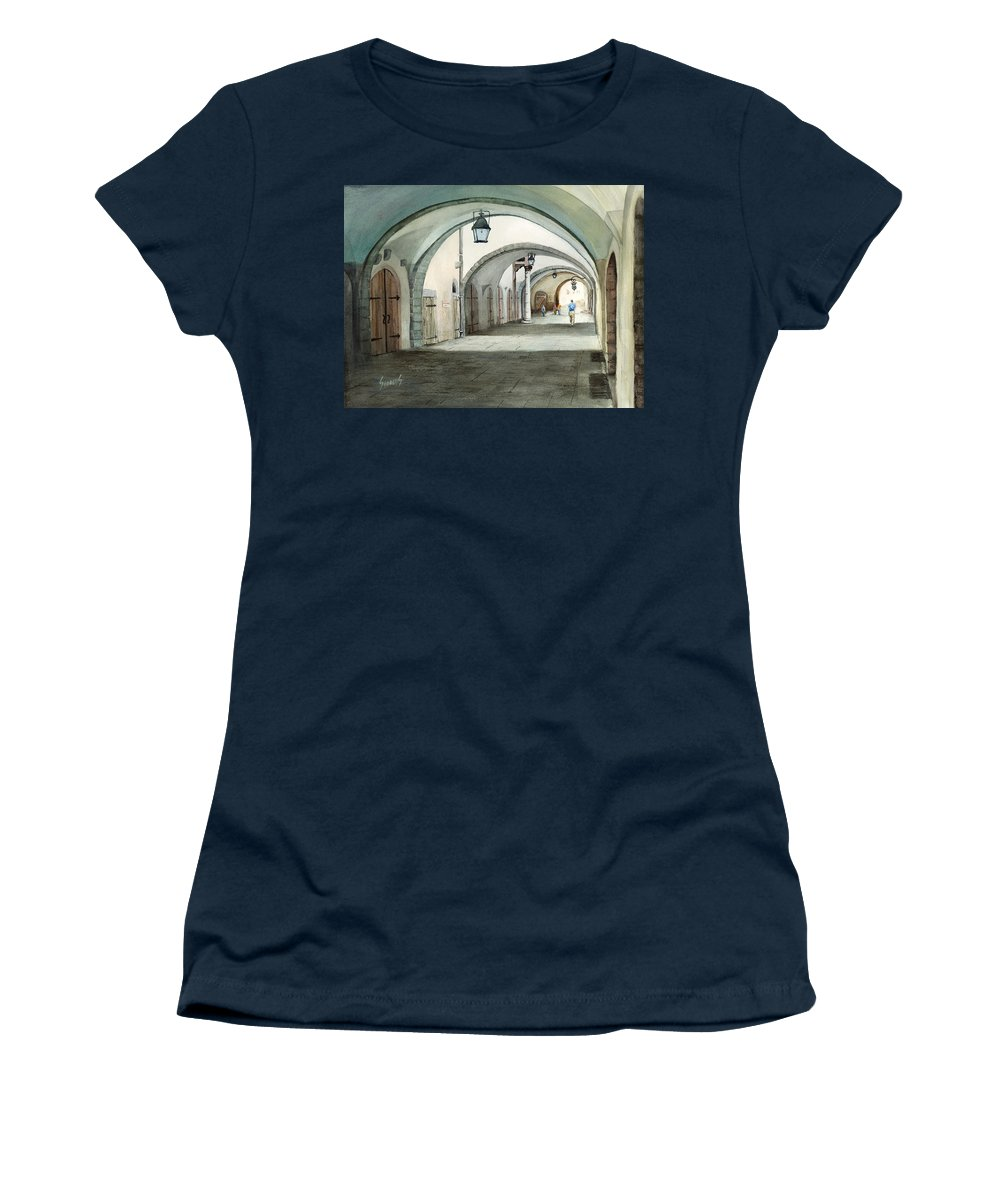 Germany Women's T-Shirt featuring the painting Rothenburg Backstreet by Sam Sidders